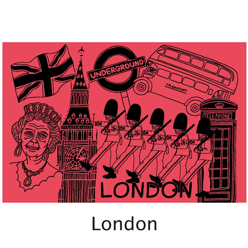 真空シティボトル|LONDON|レッドピンク×ブルー|ALEXYANG