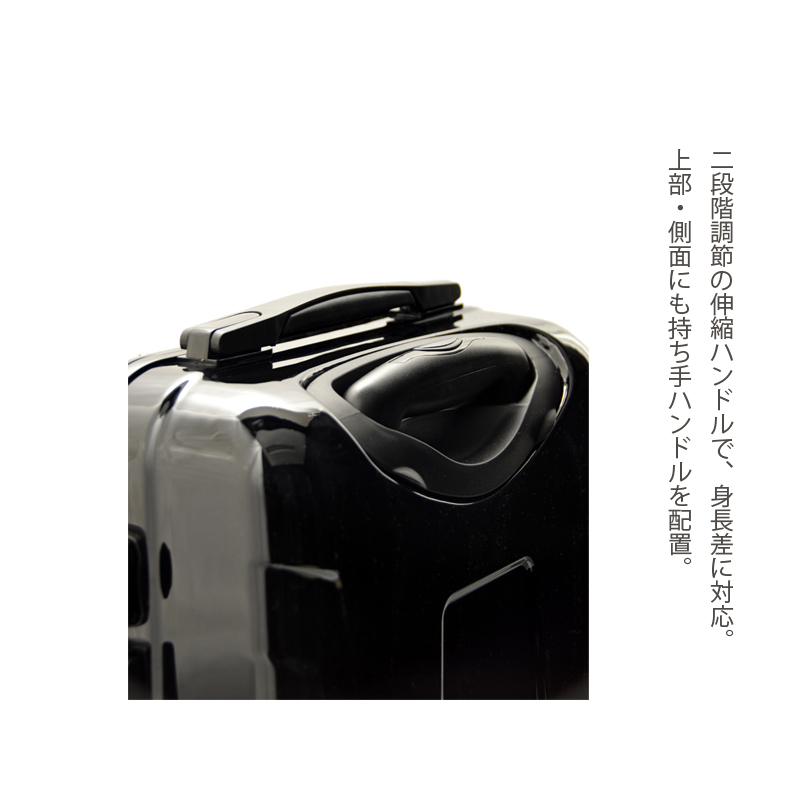 キャラート アートスーツケース ジャパニーズ 印伝調 青海波(ブラック ) フレーム4輪 機内持込