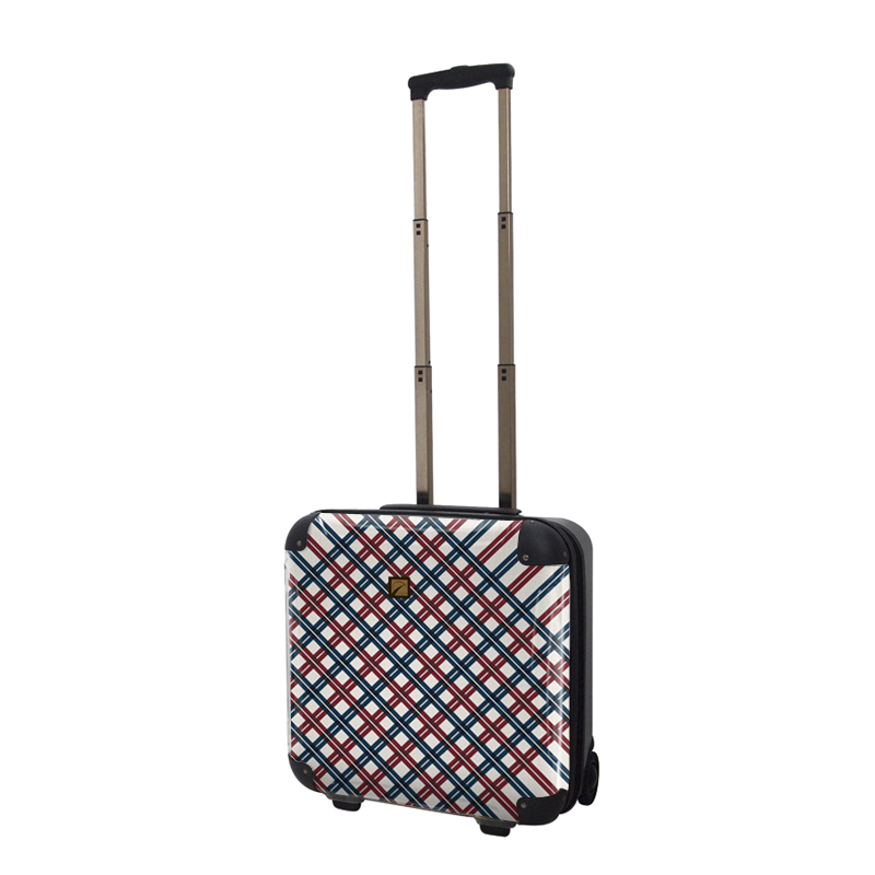 キャラート|アートスーツケース|ベーシック  スペースチェック(レッド×ネイビー)|ジッパー2輪|機内持込