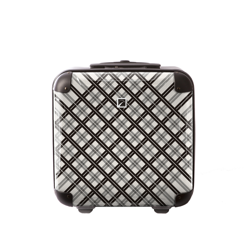 キャラート|アートスーツケース|ベーシック スペースチェック(ブラック×グレー)|ジッパー2輪|機内持込