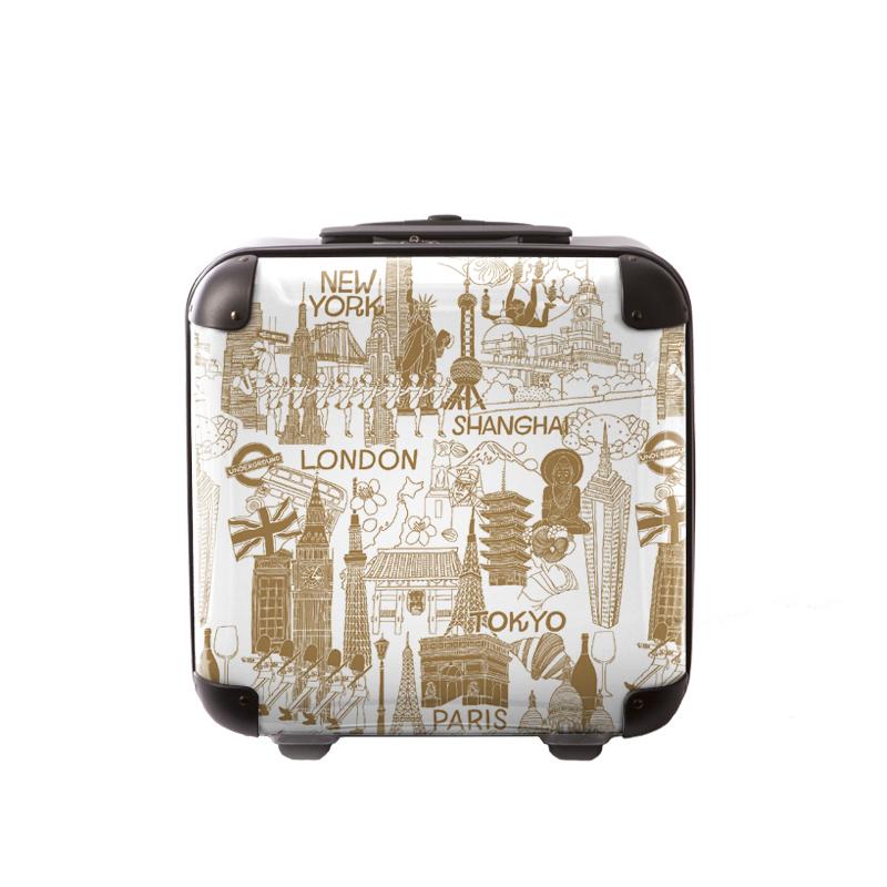 キャラート アートスーツケース ポップニズム  シティ(ホワイト×ソフトキャメル) ジッパー2輪 機内持込