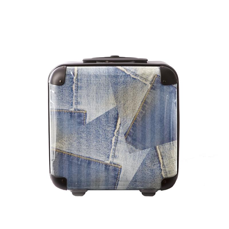 キャラート|アートスーツケース|ポップニズム デニム(コラージュブルー1 )|ジッパー2輪|機内持込
