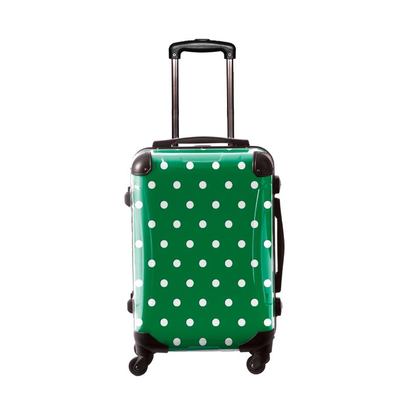 キャラート|アートスーツケース|ベーシック  カラードット(グリーン)|フレーム4輪|機内持込