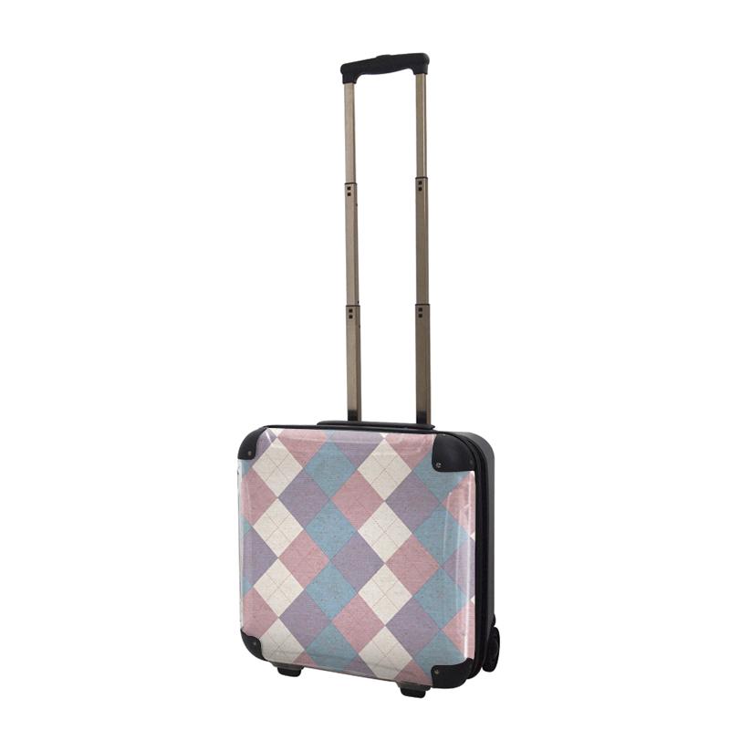キャラート|アートスーツケース|アーガイルツイスト(ラベンダー×ピンク×ブルー)|ジッパー2輪|機内持込