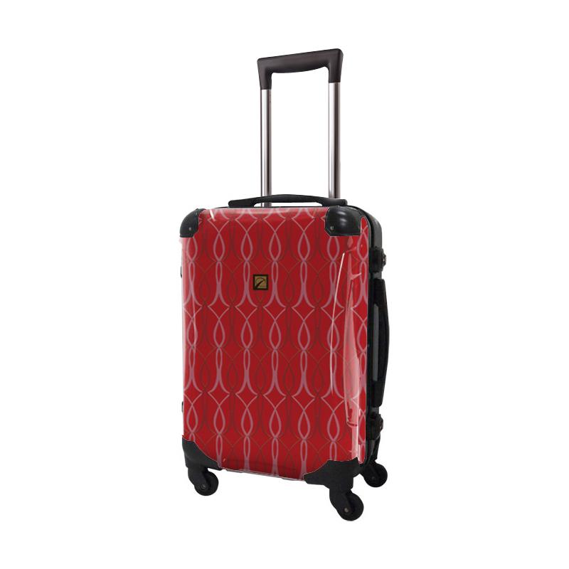 キャラート|アートスーツケース|ベーシック チェックロール|レッド|フレーム4輪|機内持込