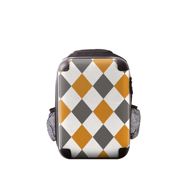 キャラート|アートリュックサック|ダイアモンドチェック(オレンジ×グレー×ホワイト)|S 15inch|M 18inch