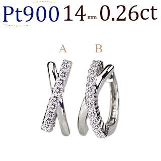 Pt 中折れ式ダイヤフープピアス(0.26ctUP)(14mm)(sb0062pt)