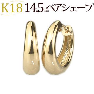 K18 中折れ式フープピアス(14.5mmペアシェープ)(sap145k)