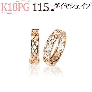 K18PGフープイヤリング(ピアリング)(11.5mmダイヤシェープ)(ej0035pg)