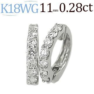 K18WGフープイヤリングPtフープイヤリング(ピアリング)(0.28ct)(11mm)(ed0009wg)