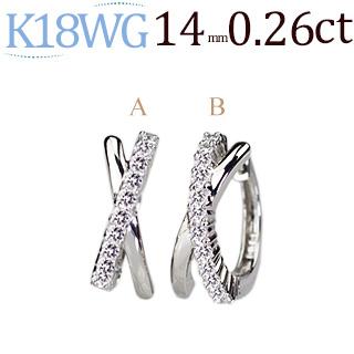 K18WG 中折れ式ダイヤフープピアス(0.26ctUP)(14mm)(sb0062wg)