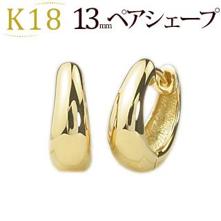 K18 中折れ式フープピアス(13mmペアシェープ)(sap13k)