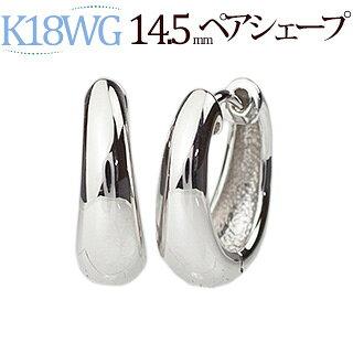 K18WG 中折れ式フープピアス(14.5mmペアシェープ)(sap145wg)