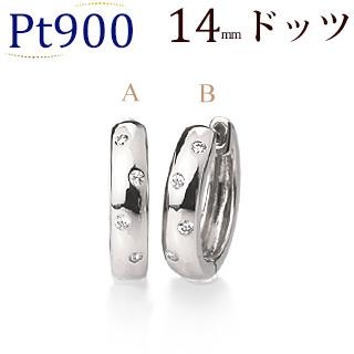 Pt中折れ式ダイヤフープピアス(0.08ct)(14mm)(sb0071pt)