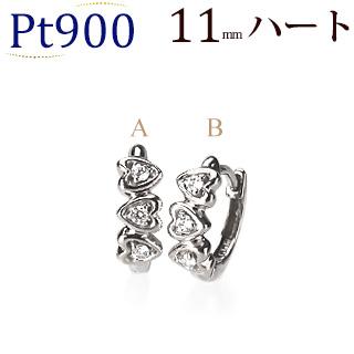 Pt中折れ式ダイヤフープピアス(11mm ハート)(sb0080pt)