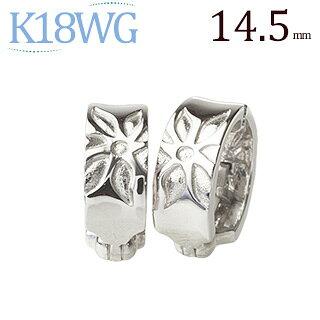 K18WGフープイヤリング(ピアリング)(14.5mm)(ej0024wg)