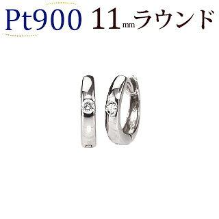 Ptダイヤフープピアス(11mmラウンド、ワンポイント)(sb0002pt)