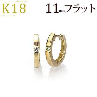 K18中折れ式ダイヤフープピアス(11mmラウンド、ワンポイント)(sb0003k)