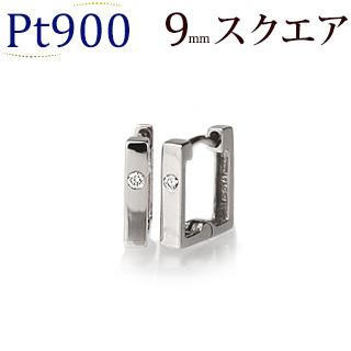 Pt中折れ式ダイヤフープピアス(9mmスクエア、ワンポイント)(sb0008pt)