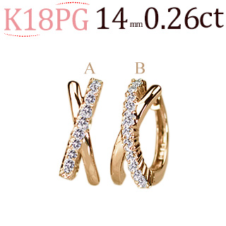 K18PG中折れ式ダイヤフープピアス(0.26ctUP)(14mm)(sb0062pg)