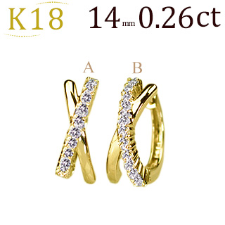 K18中折れ式ダイヤフープピアス(0.26ctUP)(14mm)(sb0062k)