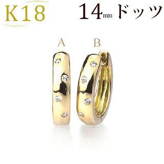 K18中折れ式ダイヤフープピアス(0.08ct)(14mm)(sb0071k)