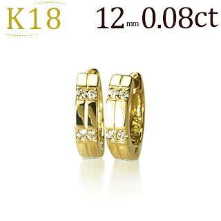 K18中折れ式ダイヤフープピアス(12mm)(sb0073k)