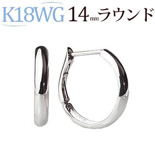 K18WG 跳ね上げ式グルーヴフープピアス(14mmラウンド)(satbf14wg)