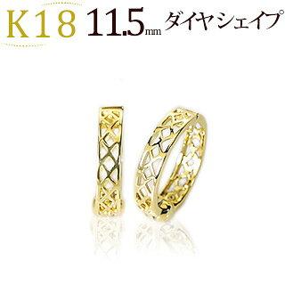 K18フープイヤリング(ピアリング)(11.5mmダイヤシェープ)(ej0035k)
