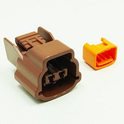 E型2極メスコネクター(茶色)