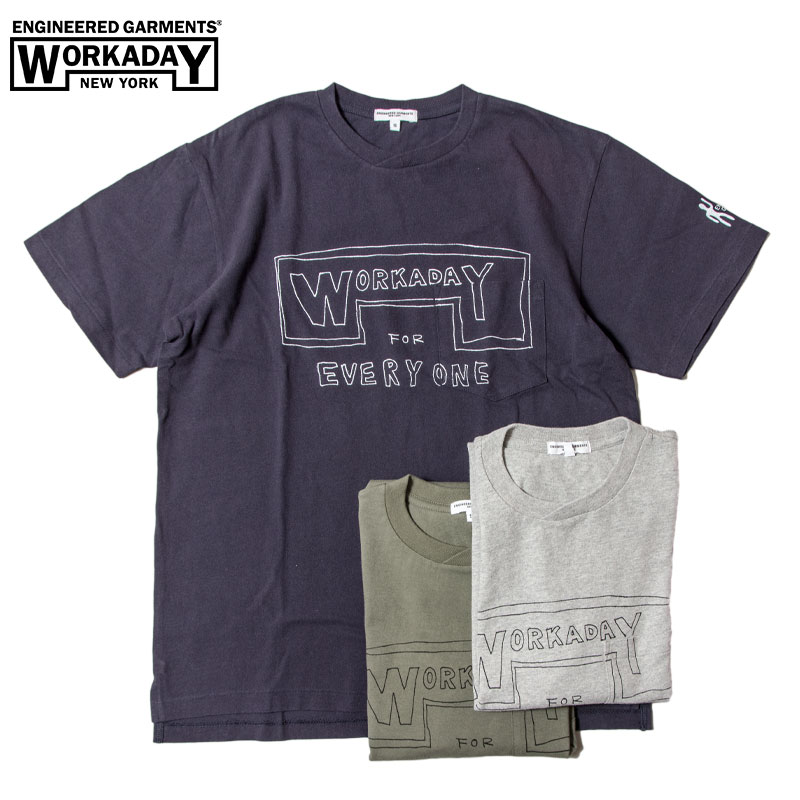 EG Workaday [エンジニアードガーメンツ・ワーカデイ] - Printed Crossover Neck Pocket Tee _ Workaday for Everyday / 4Col.