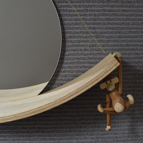 CURVED WOOD SHELF + mirror