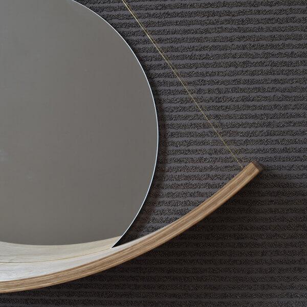 CURVED WOOD SHELF + mirror