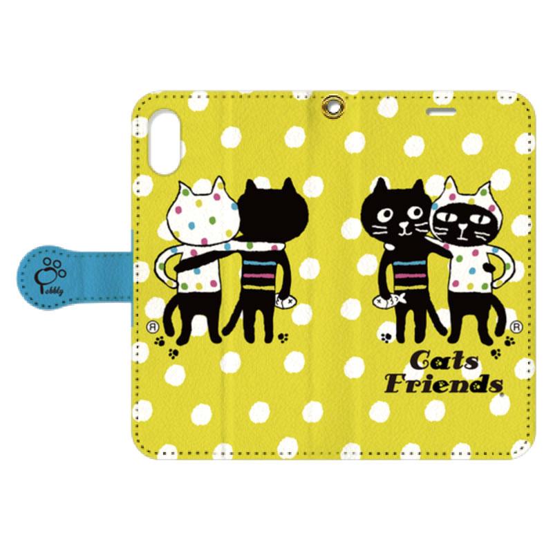 【オンライン限定商品】Yellow Dots Cats Friends手帳型スマホケース