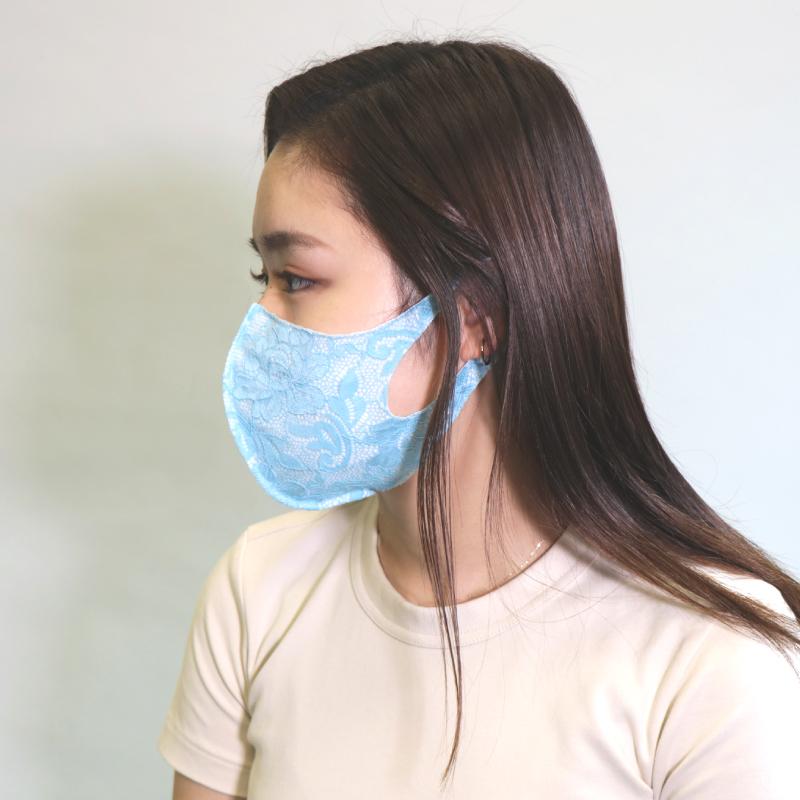 UVカット+接触冷感フェイスカバーマスク  レース (受注生産)