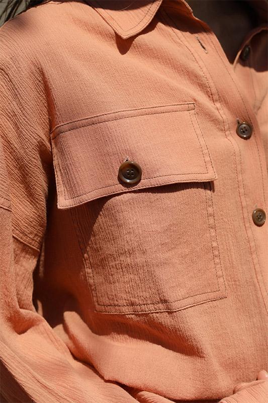 バイカラーステッチオーバーシャツ/CAVEZA ROSSO/カベサロッソ