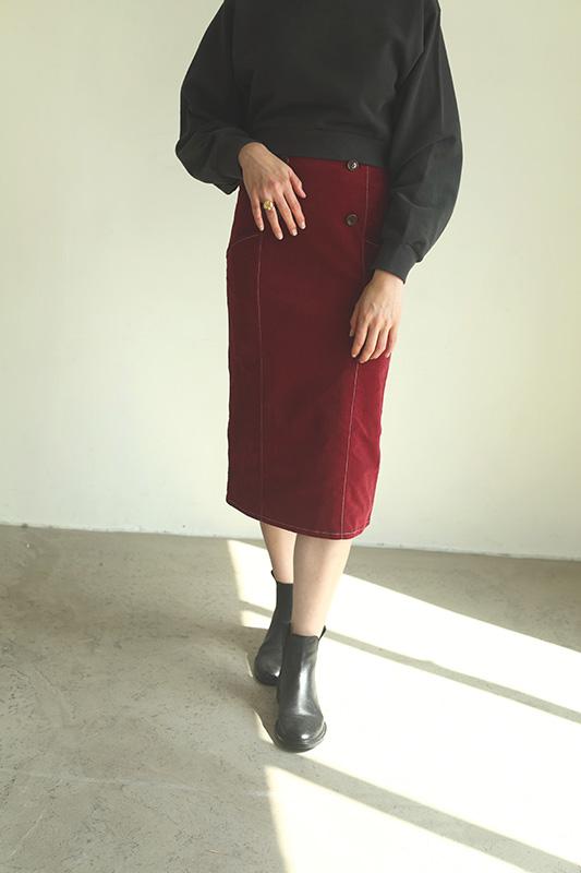 バイカラーステッチコーデュロイタイトスカート/CAVEZA ROSSO/カベサロッソ
