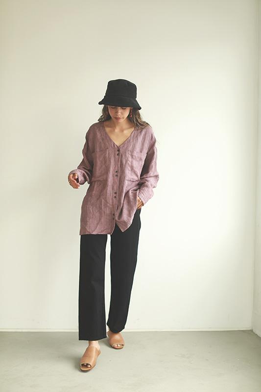 フラワージャガードカラーレスシャツ/CAVEZA ROSSO/カベサロッソ
