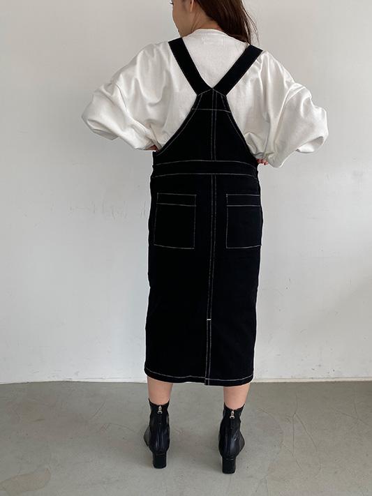 バイカラーステッチサロペットスカート/CAVEZA ROSSO/カベサロッソ