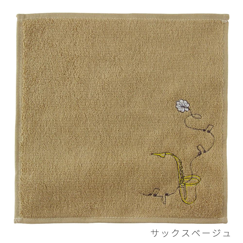 エンブロイダリー(刺繍)タオルハンカチ(サックス/ピアノ/バイオリン/ネコ)