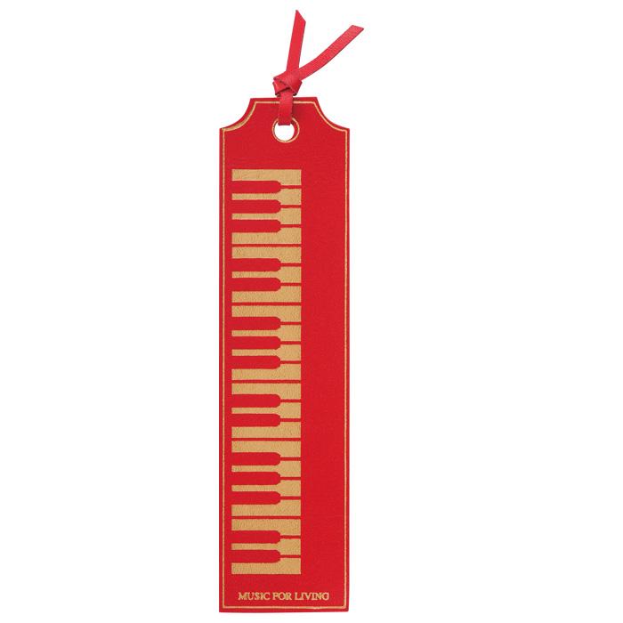 クラシックブックマーク レザー 鍵盤 レッドゴールド