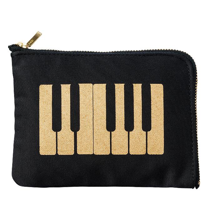 ティッシュケース ポーチ 鍵盤 ブラックゴールド