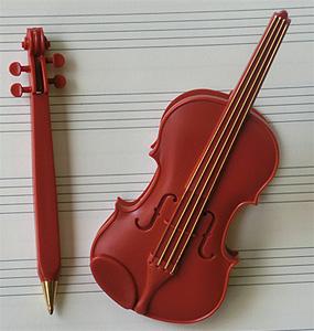 リボン バイオリンクリップ(ボールペン付)ブラウン