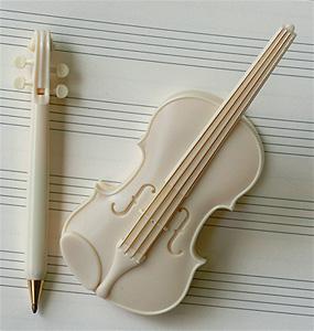 リボン バイオリンクリップ(ボールペン付)アイボリー