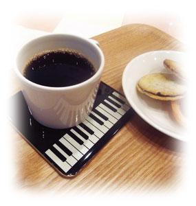 コースター5枚セット鍵盤/ブラック