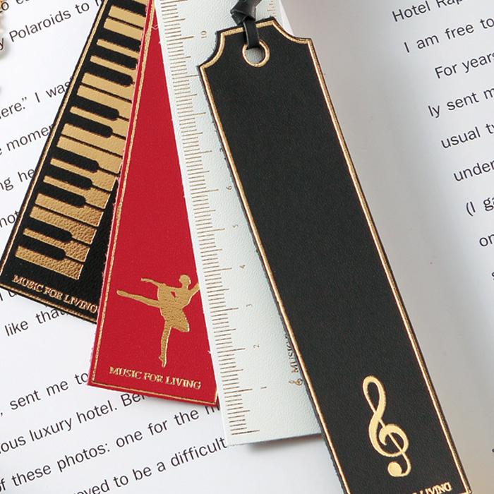 クラシックブックマーク レザー 鍵盤 ブラックゴールド