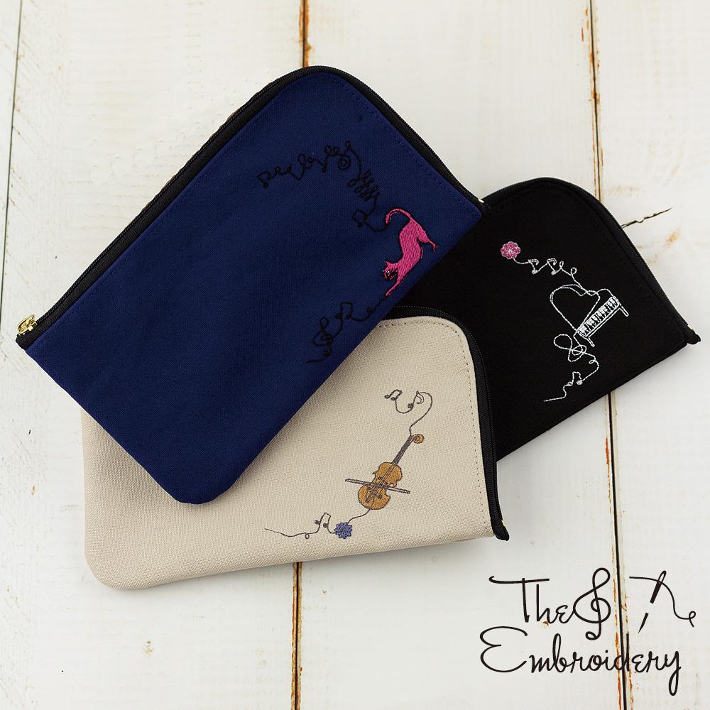 エンブロイダリー(刺繍)スケッチ刺繍マルチポーチ