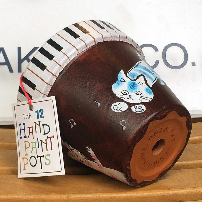 THE 12 HAND PAINT POTS 001 3匹のネコと鍵盤
