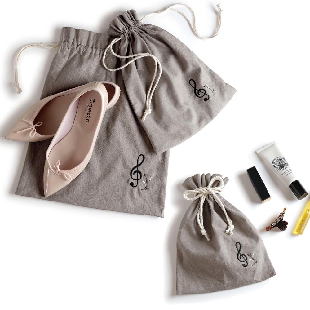 エンブロイダリー(刺繍)巾着 ト音記号 S