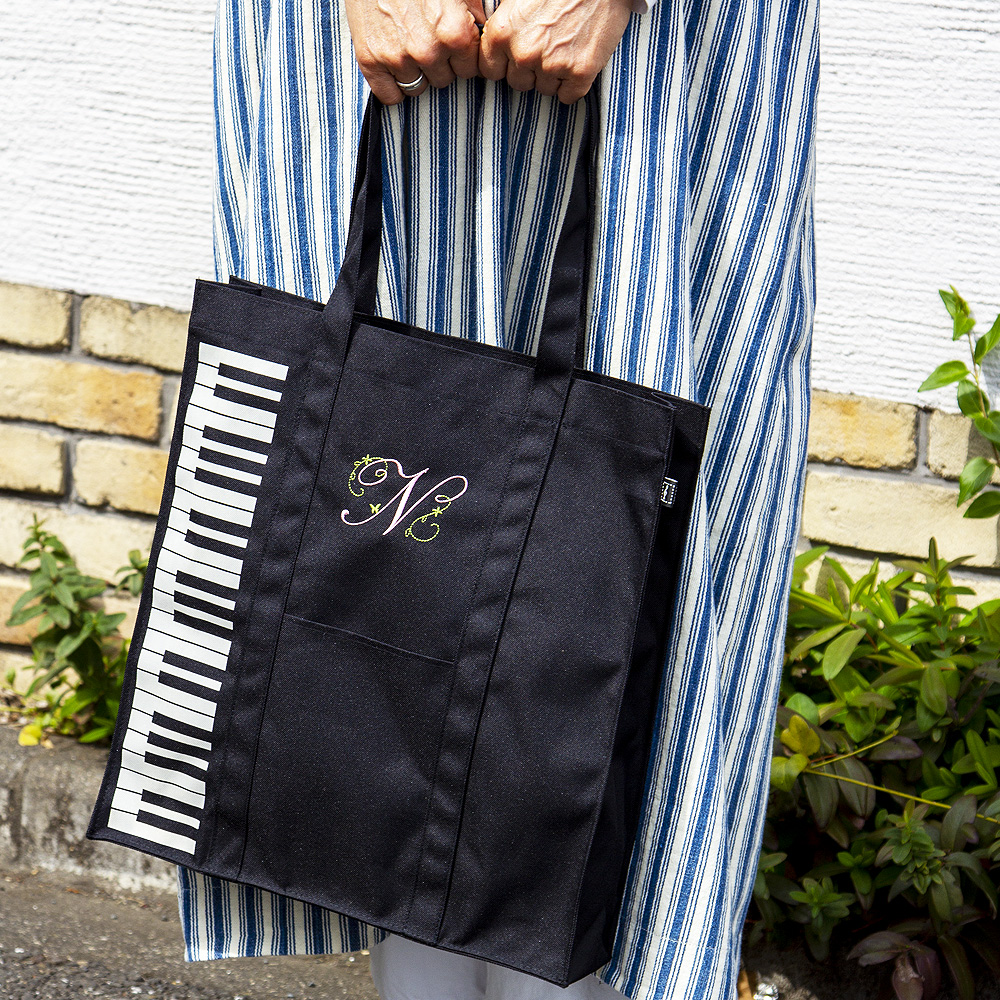 マイイニシャルレッスンバッグ 鍵盤/ブラック ※お好きなイニシャルを刺繍